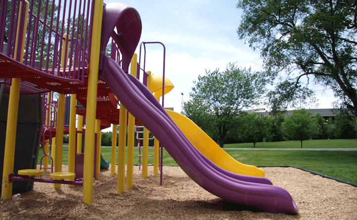 Purple slide on playground.